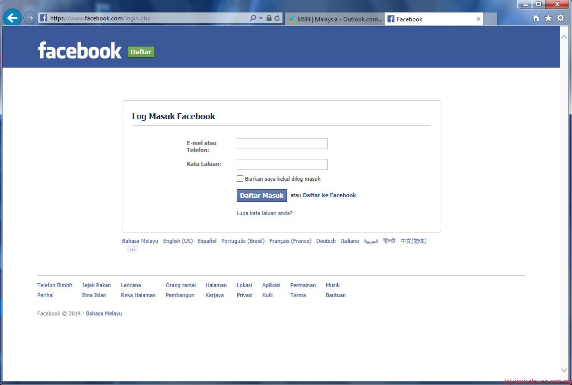 Facebook login in español